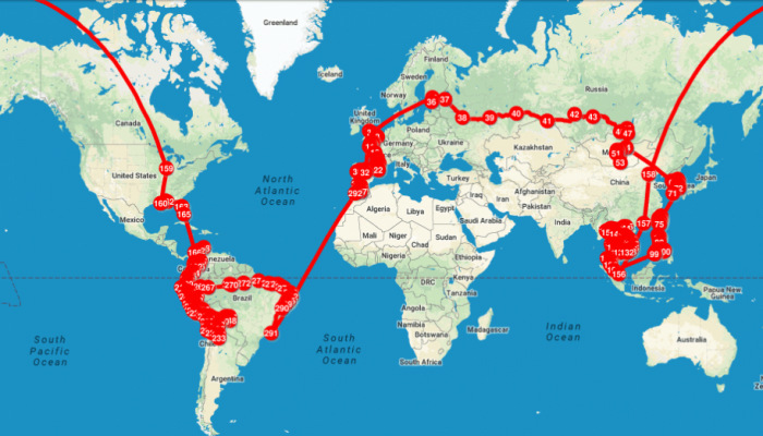 Mapa con linea de ruta vuelta al mundo.
